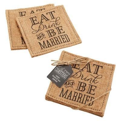 """Kate Aspen """"Eat, Drink & Be Married"""" Burlap Coasters– Set of 12"""