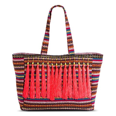 Women's Striped Tote Handbag with Neon Beaded Tassels - Pink