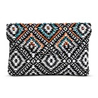 Women's Diamond Print Clutch Handbag - Black/White
