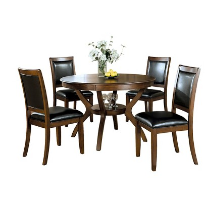 Dining Table and Chair Set Wood Dark Walnut Mo Tar