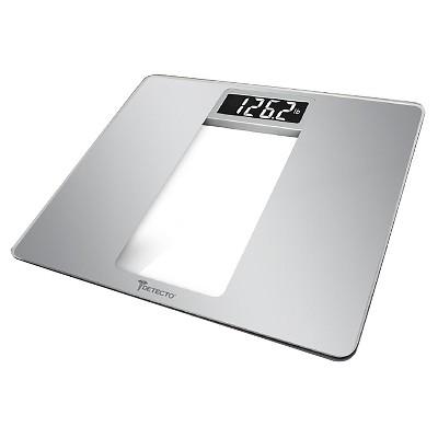 Detecto Wide Platform LCD Digital Glass Bath Scale - Silver