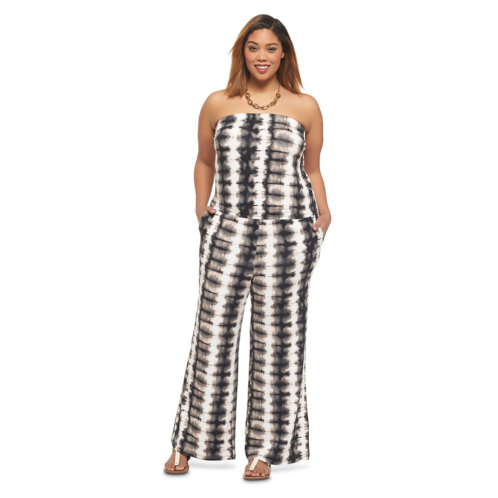 Women's Plus Size Strapless Jumpsuit Black/Multi 4X-Ava & Viv
