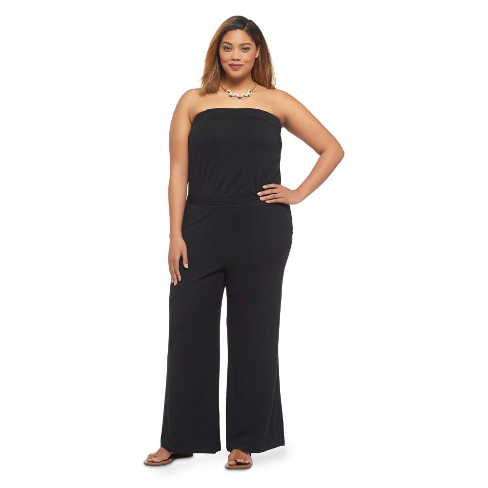 Women's Plus Size Strapless Jumpsuit Black 3X-Ava & Viv