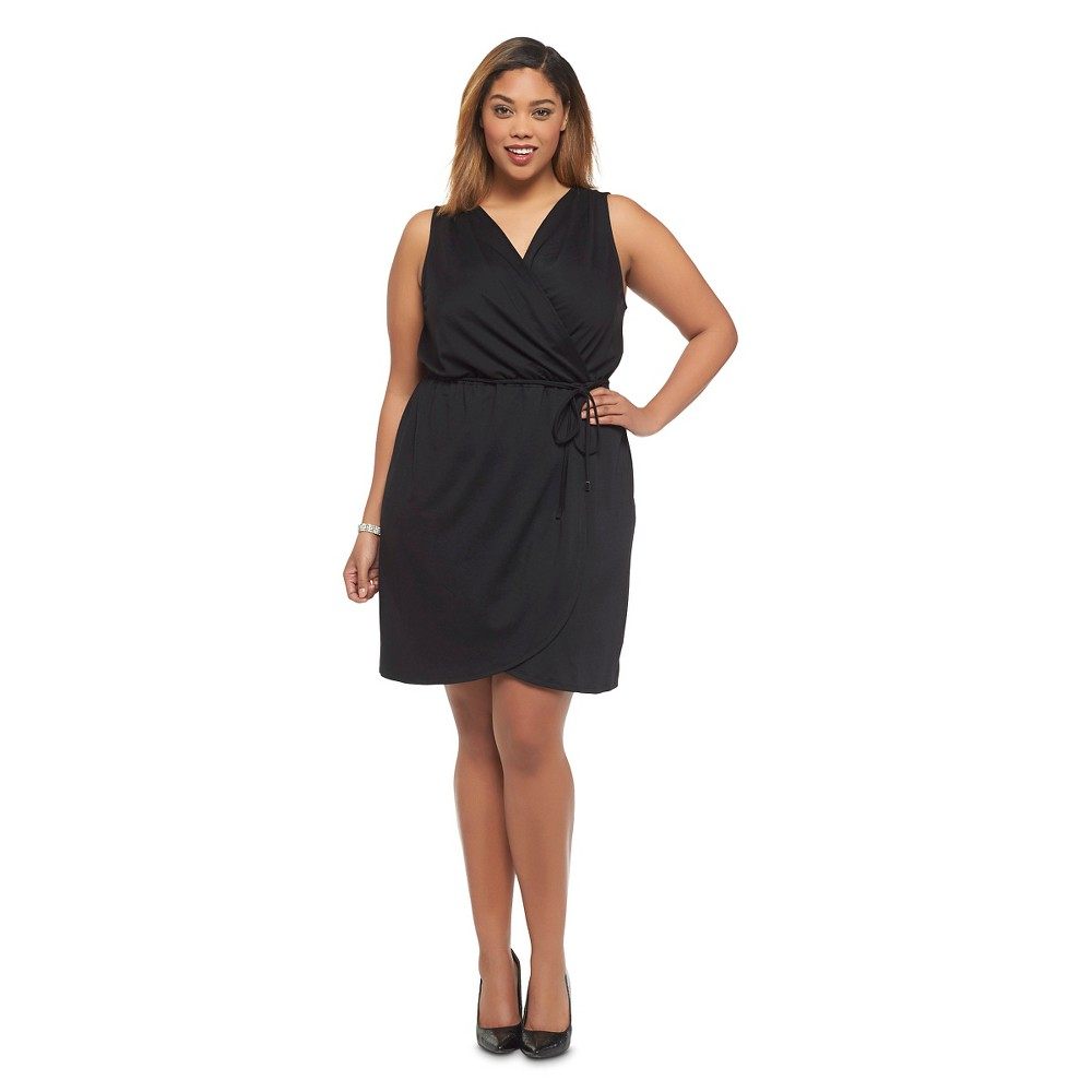 Women's Plus Size Sleeveless Wrap Dress Black - Ava & Viv