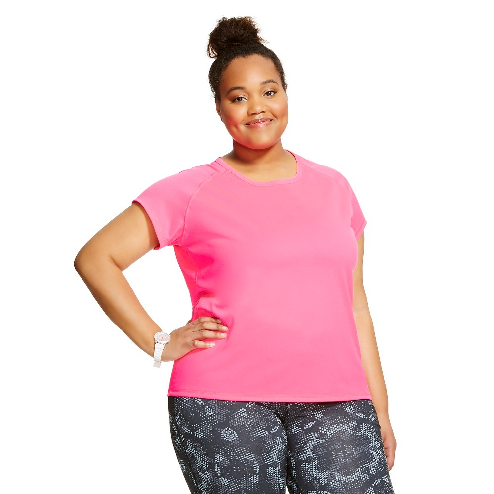 C9 Champion Women's Plus Size Short Sleeve Tech Tee - Pink Extreme