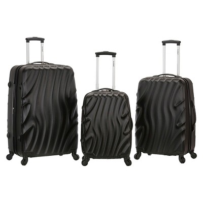 Rockland Melbourne 3pc ABS Luggage Set - Blackwave