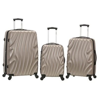 Rockland Melbourne 3pc ABS Luggage Set - Silverwave