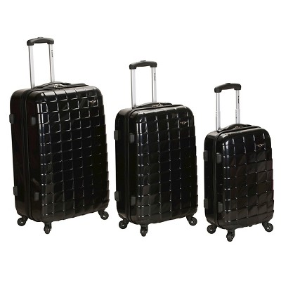 Rockland Celebrity 3pc Polycarbonate/ABS Luggage Set - Black