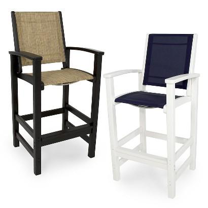 Polywood Coastal Patio Sling Bar Height Chair C Target