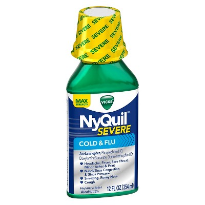 Vicks NyQuil Severe Cold & Flu Original Flavor Liquid - 12 fl oz