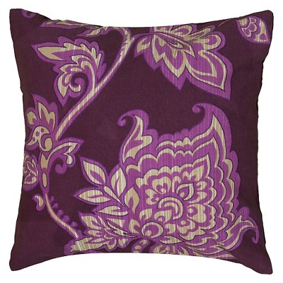 "Rizzy Home Embroidered Decorative Pillow - Purple/Ivory (18""x18"")"