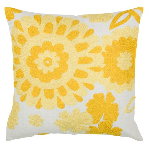 Rizzy Home Embroidered Floral Throw Pillow : Target