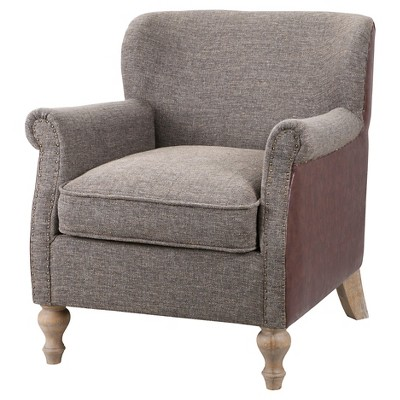 Luther Turned Leg Club Chair - Grey/Chocolate
