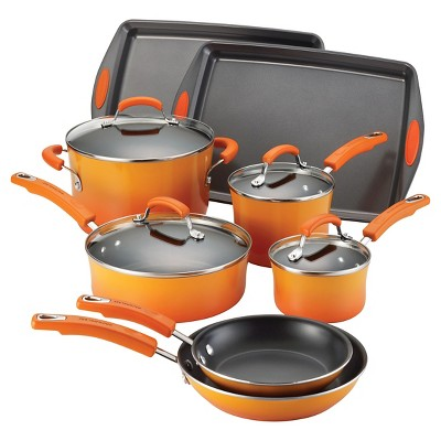 Rachael Ray Porcelain 12Pcs Cookware Set - Orange