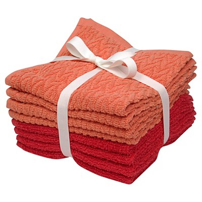 Room Essentials™ 8-pk. Solid Textured Washcloth Set - Ultra Coral/Georgia Peach