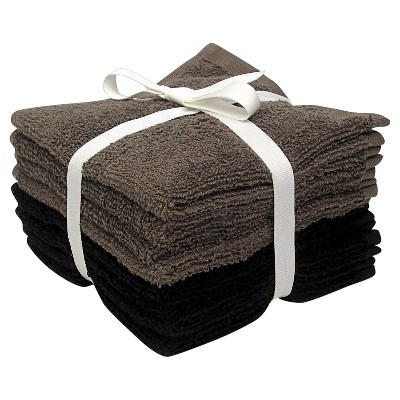 Room Essentials™ 8-pk. Solid Textured Washcloth Set - Ebony/Earth Gray