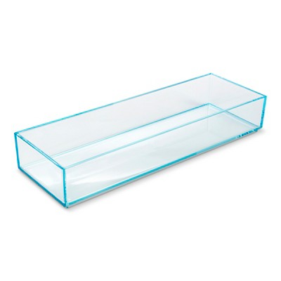 Stacking In Drawer Storage Tray Turquoise 4x12x2 interDesign
