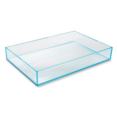 Stacking In Drawer Storage Tray Turquoise 8x12x2 interDesign