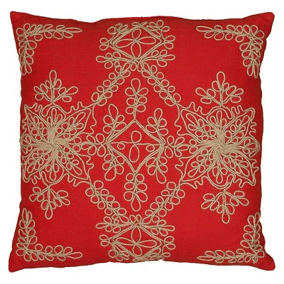 Rizzy Home Jute Embroidery and Corded Decorative Pillow - Red