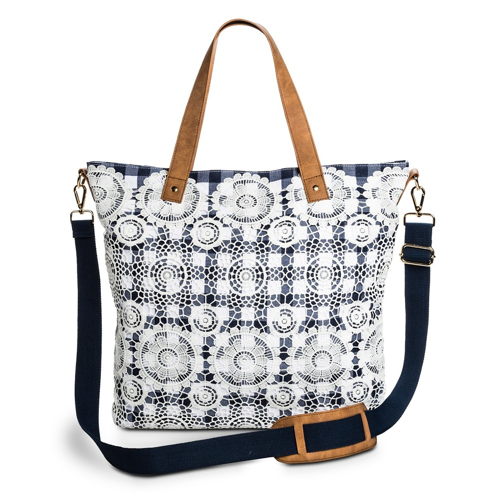 Merona Women's Crochet Lace Overlay Plaid Print Tote Handbag - Blue/Ivory