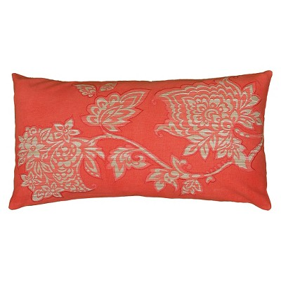 """Rizzy Home Printed Decorative Throw Pillow - Coral/Ivory (11""""x21"""")"""