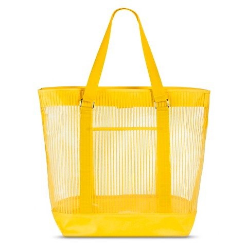 Women's Solid Striped Mesh Beach Tote