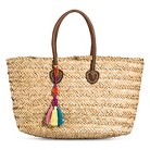 Women's Woven Straw Tote Handbag with Fringe Tassel - Tan