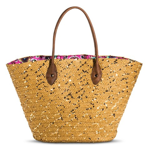 Women's Woven Straw Tote Handbag withh Sequins and Paisley Interior - Tan