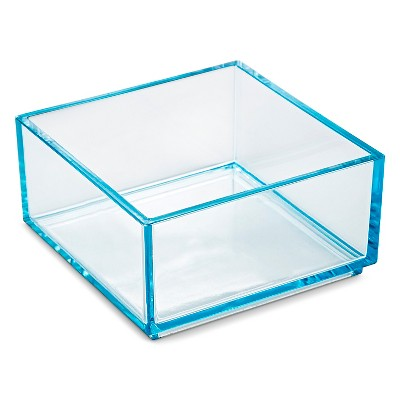 Stacking In Drawer Storage Tray Turquoise 4x4x2 interDesign