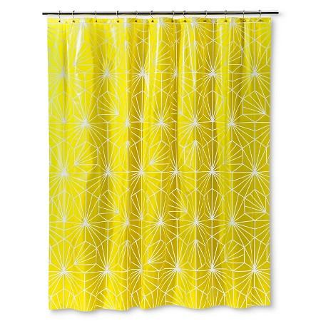 Room Essentials Peva Geometric Shower Curtain Citrus Pear Opaque Target