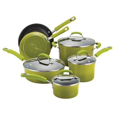 Rachael Ray Porcelain Nonstick 10 Piece Cookware Set - Green Gradient