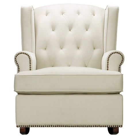 Tufted Nailhead Wingback Rocker Tar