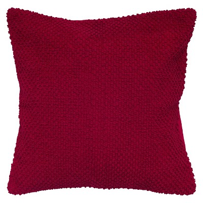 "Handloom Textured Throw Pillow Red (20""x20"") - Rizzy Home"