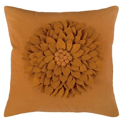 Rizzy Home 3D Felt Blossom Decorative Pillow - Orange