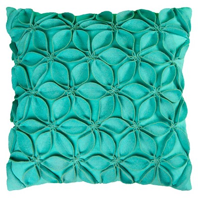 Rizzy Home Leaves Applique Decorative Pillow - Turquoise
