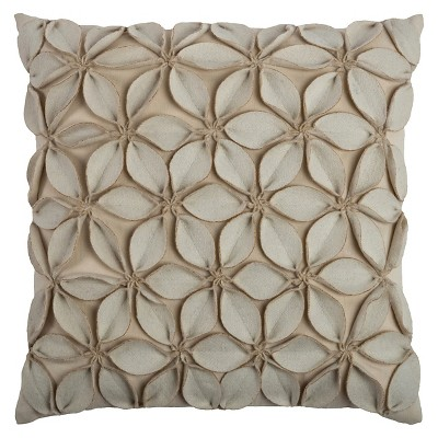 "Leaves Applique Throw Pillow Cream (18""x18"") - Rizzy Home"