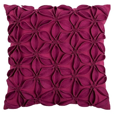 Rizzy Home Leaves Applique Decorative Pillow - Raspberry