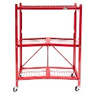 Origami 3-Tier Wire Utility Shelf with Wheels - Red