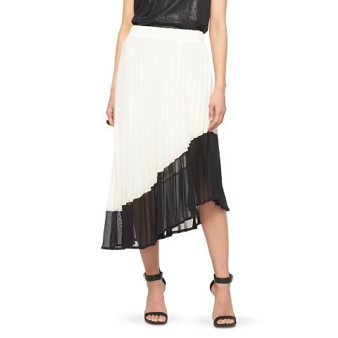 pleated asymmetrical skirt white black mossimo
