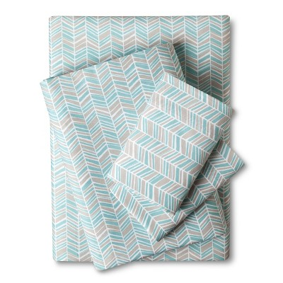 Room Essentials Cal-King Easy Care Sheet Set Turquoise Chevron