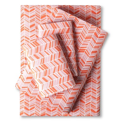 Easy Care Sheet Set Coral Chevron (Queen) - Room Essentials™