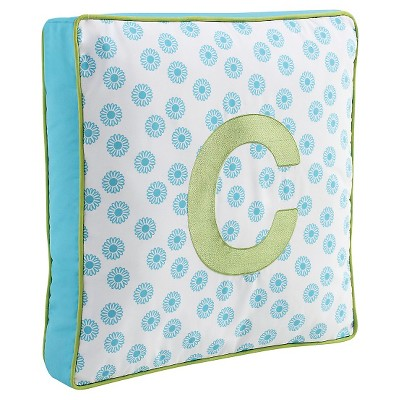 "Monogram Letter C Pillow - Turquoise/Lime Green (18""x18"")"