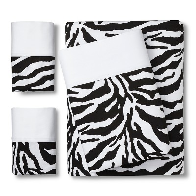 Zebra Print Sheet Set - Black/White (King)