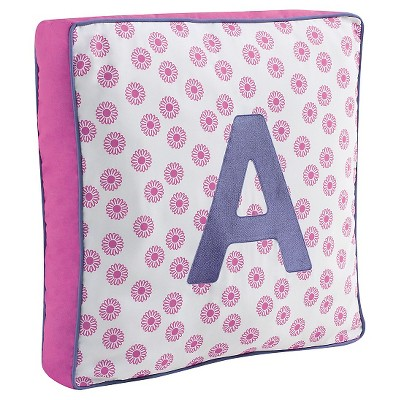"Monogram Letter A Pillow - Pink/Purple (18""x18"")"