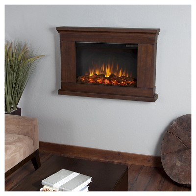 Real Flame Jackson Slim Electric Decorative Wall Mounted Fireplace - Vintage Black Maple