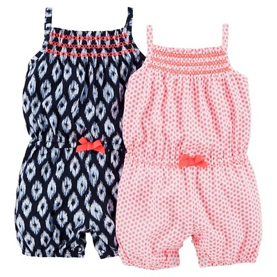 Just One You™Made by Carter's® Newborn Girls' 2 Pack Romper Set - Coral/Blue NB