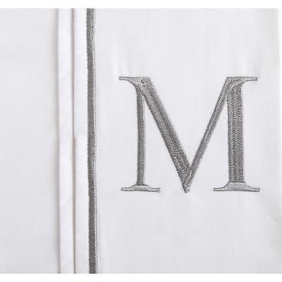 Monogram Letter M Pillowcase 2 Pack - White (Standard)