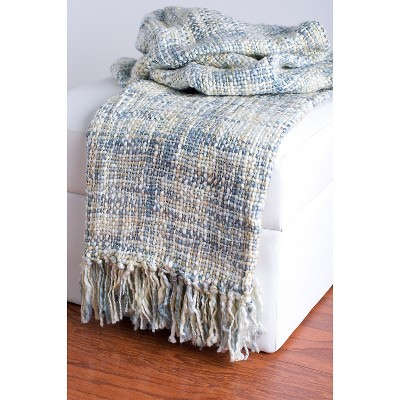 Rizzy Home Acrylic Woven Throw - Sky Blue