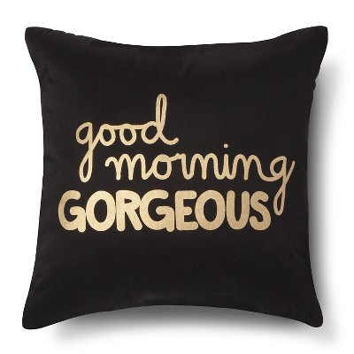 Good Morning Gorgeous! Decorative Pillow - Navy/Gold (Square) - Xhilaration™
