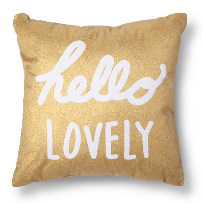Hello Lovely Decorative Pillow - Gold/White - Xhilaration™